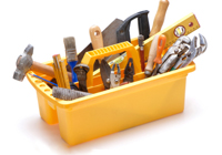 Toolkit of home repair tools
